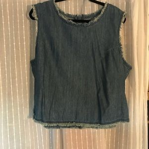 Denim frayed crop top